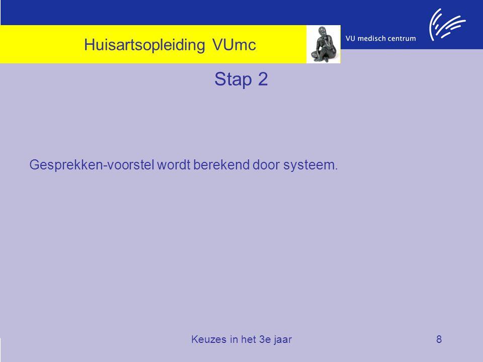 Keuzes in het 3e jaar8 Stap 2 Gesprekken-voorstel wordt berekend door systeem. Huisartsopleiding VUmc