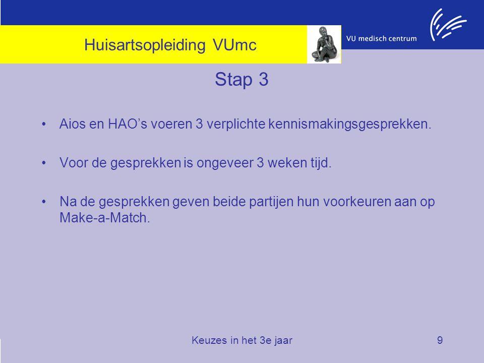 Keuzes in het 3e jaar9 Stap 3 Aios en HAO's voeren 3 verplichte kennismakingsgesprekken. Voor de gesprekken is ongeveer 3 weken tijd. Na de gesprekken