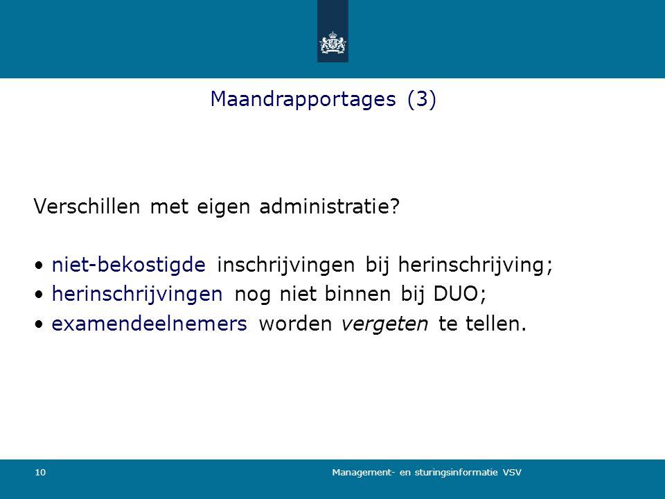 Management- en sturingsinformatie VSV 10 Maandrapportages (3) Verschillen met eigen administratie? niet-bekostigde inschrijvingen bij herinschrijving;