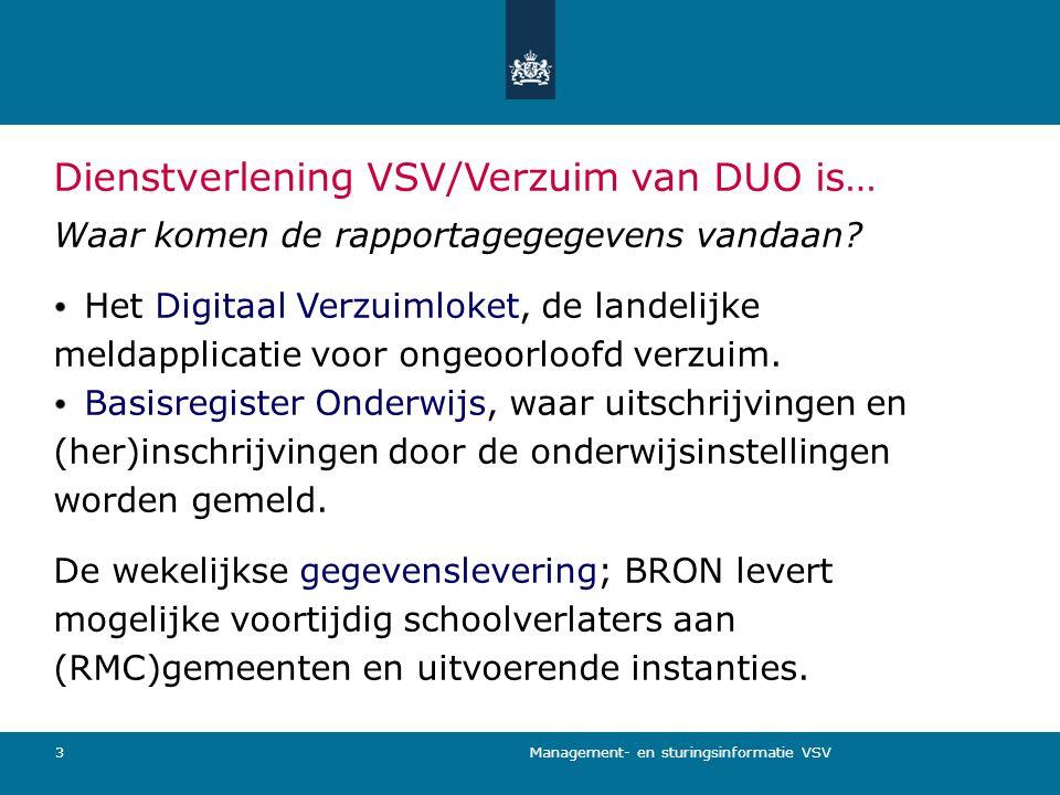 Management- en sturingsinformatie VSV 3 Dienstverlening VSV/Verzuim van DUO is… Waar komen de rapportagegegevens vandaan? Het Digitaal Verzuimloket, d