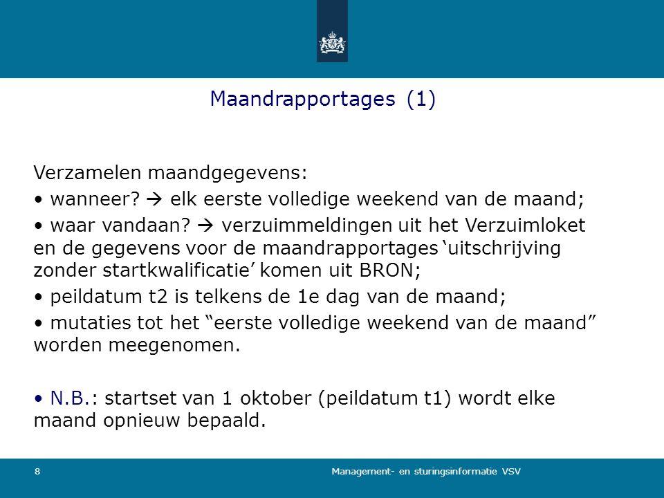 Management- en sturingsinformatie VSV 8 Maandrapportages (1) Verzamelen maandgegevens: wanneer?  elk eerste volledige weekend van de maand; waar vand