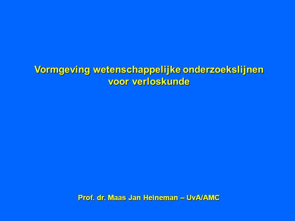 Vormgeving wetenschappelijke onderzoekslijnen voor verloskunde Prof. dr. Maas Jan Heineman – UvA/AMC