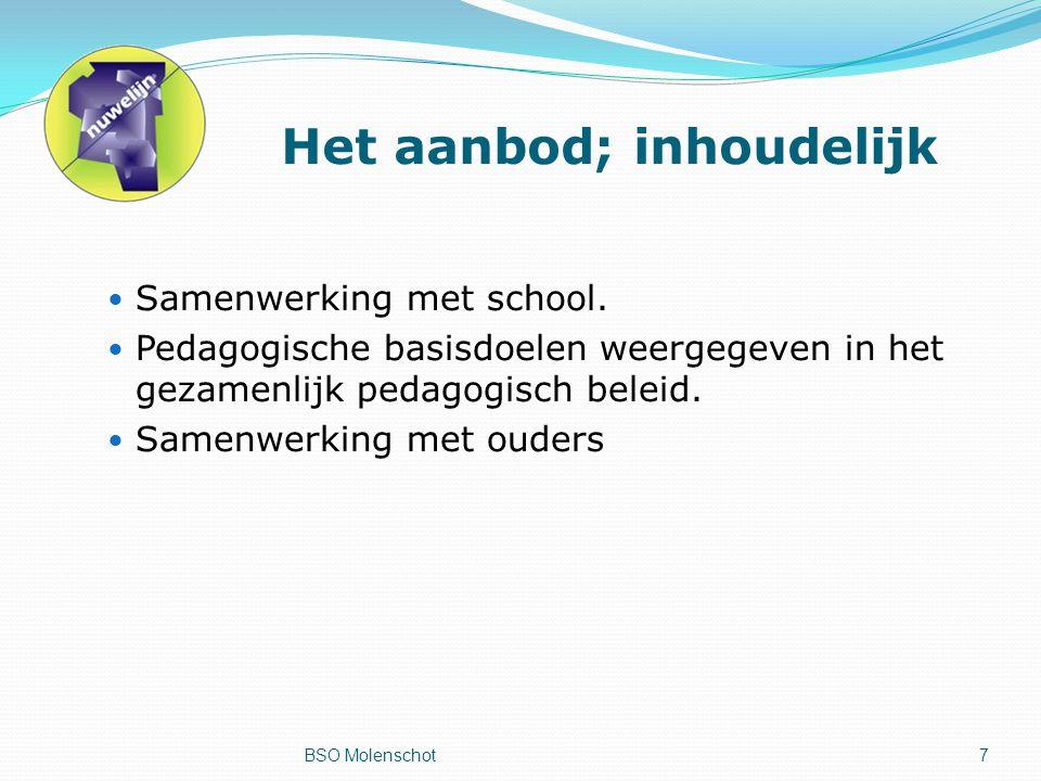 Het aanbod; inhoudelijk Samenwerking met school.