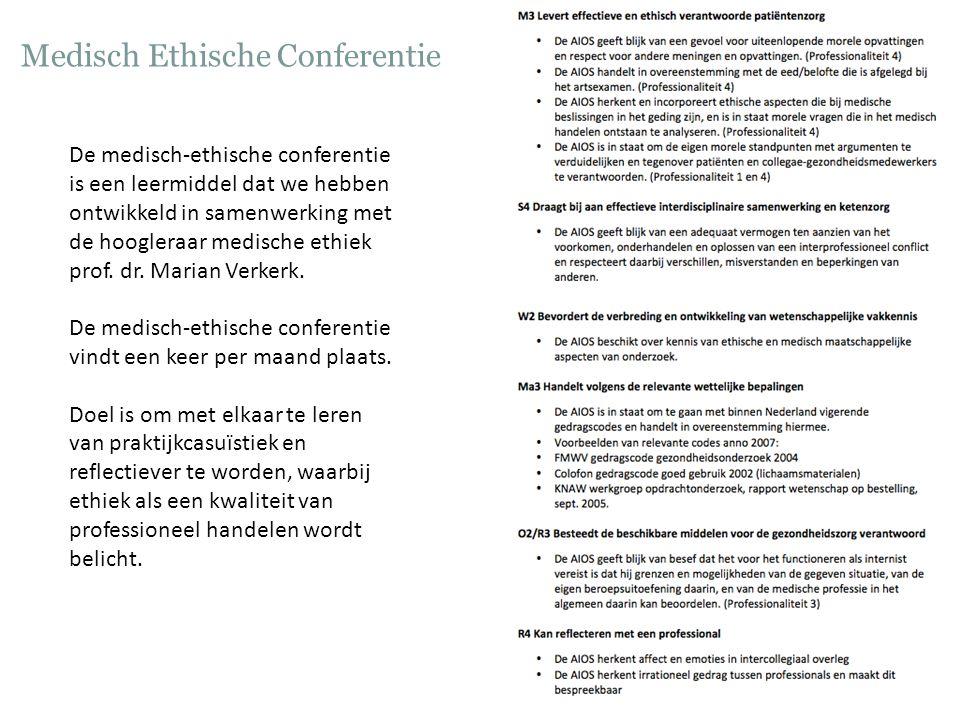 Medisch Ethische Conferentie De medisch-ethische conferentie is een leermiddel dat we hebben ontwikkeld in samenwerking met de hoogleraar medische eth