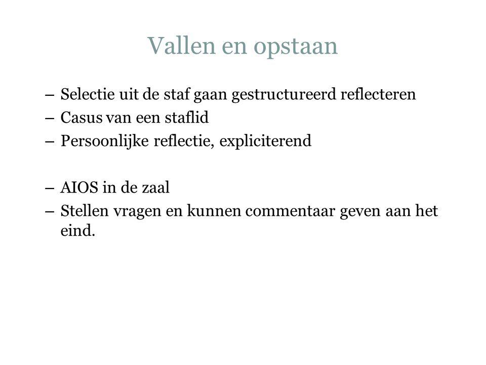 Vallen en opstaan – Selectie uit de staf gaan gestructureerd reflecteren – Casus van een staflid – Persoonlijke reflectie, expliciterend – AIOS in de