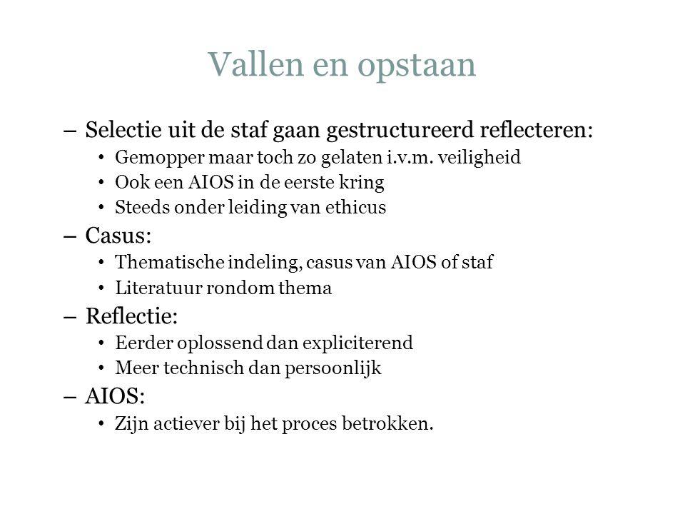 Vallen en opstaan – Selectie uit de staf gaan gestructureerd reflecteren: Gemopper maar toch zo gelaten i.v.m. veiligheid Ook een AIOS in de eerste kr