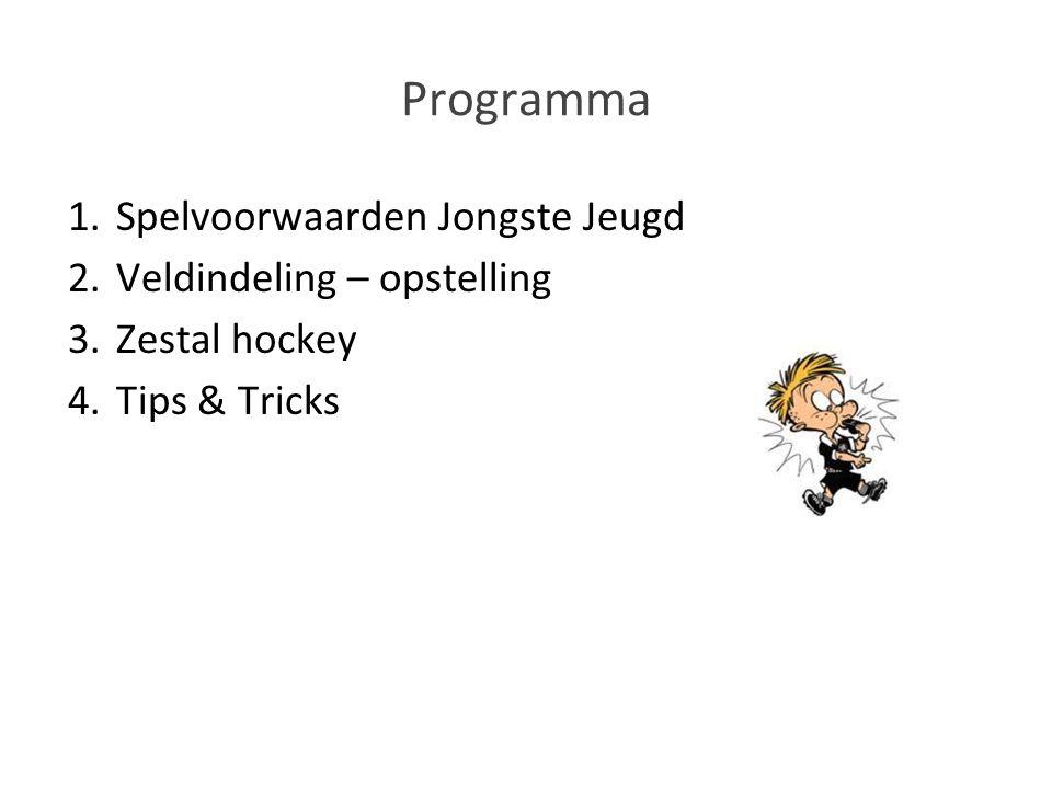 Programma 1.Spelvoorwaarden Jongste Jeugd 2.Veldindeling – opstelling 3.Zestal hockey 4.Tips & Tricks