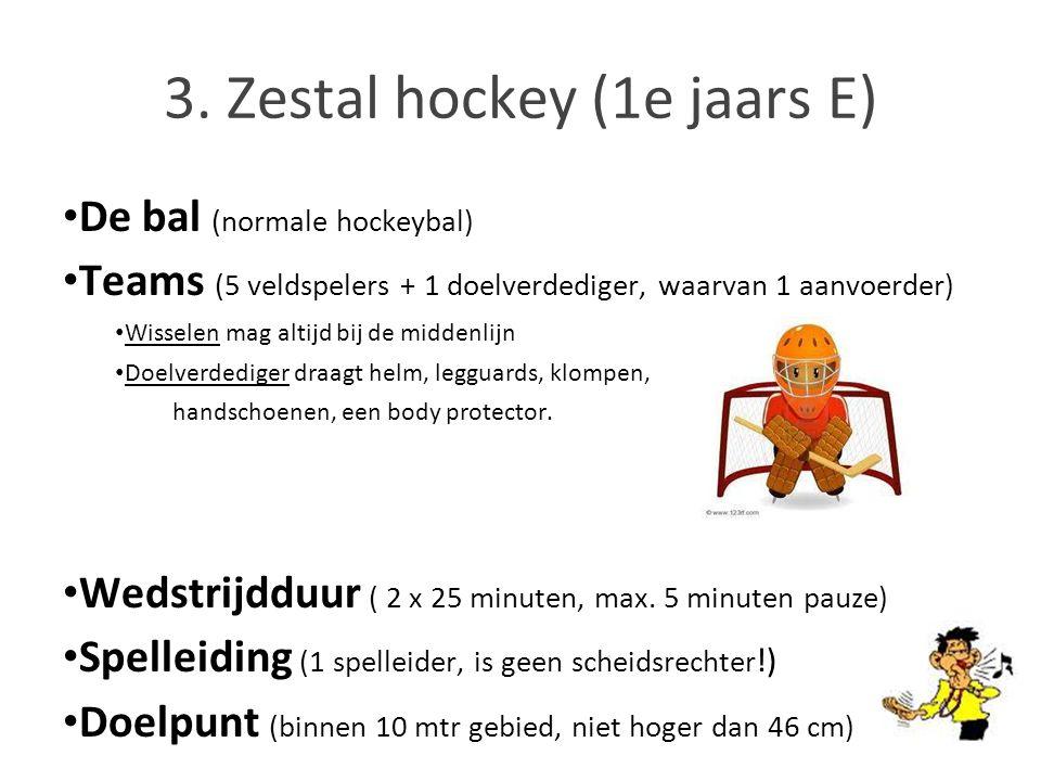 De bal (normale hockeybal) Teams (5 veldspelers + 1 doelverdediger, waarvan 1 aanvoerder) Wisselen mag altijd bij de middenlijn Doelverdediger draagt