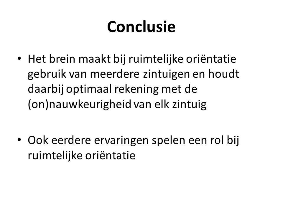 Conclusie Het brein maakt bij ruimtelijke oriëntatie gebruik van meerdere zintuigen en houdt daarbij optimaal rekening met de (on)nauwkeurigheid van elk zintuig Ook eerdere ervaringen spelen een rol bij ruimtelijke oriëntatie