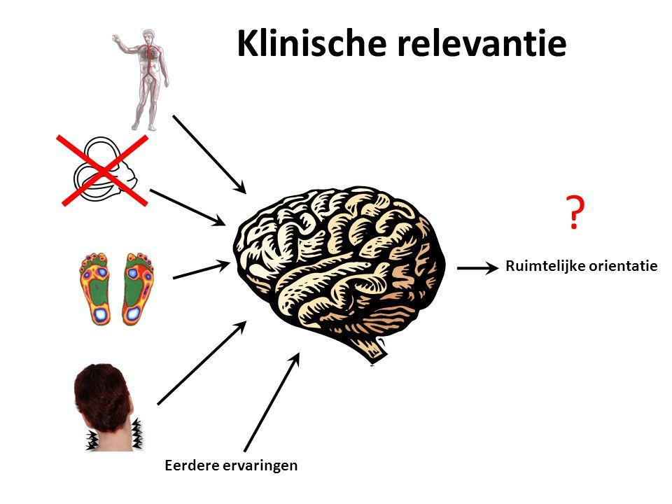 Eerdere ervaringen Ruimtelijke orientatie Klinische relevantie ?