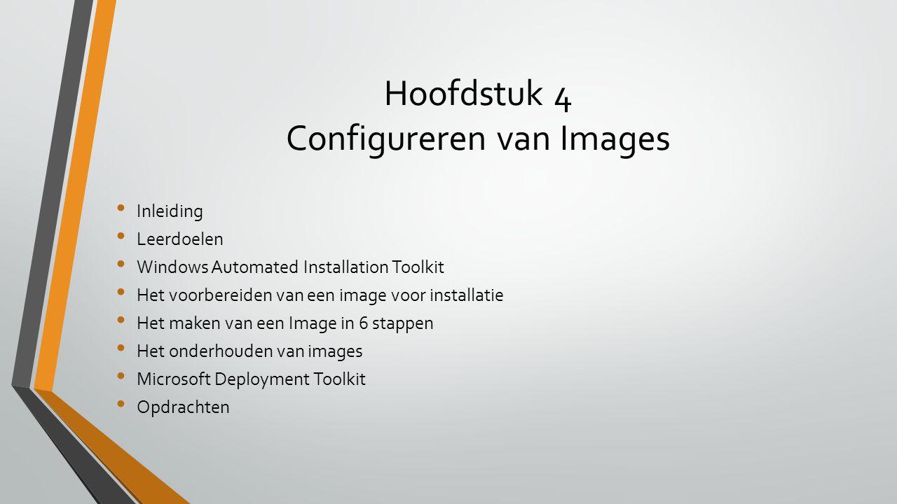 Hoofdstuk 4 Configureren van Images Inleiding Leerdoelen Windows Automated Installation Toolkit Het voorbereiden van een image voor installatie Het ma