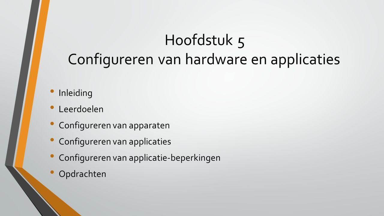 Hoofdstuk 5 Configureren van hardware en applicaties Inleiding Leerdoelen Configureren van apparaten Configureren van applicaties Configureren van app