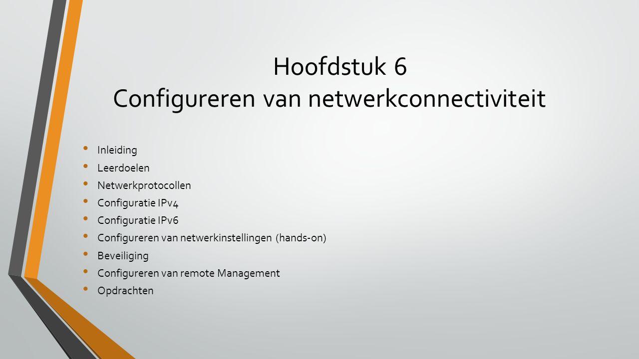 Hoofdstuk 6 Configureren van netwerkconnectiviteit Inleiding Leerdoelen Netwerkprotocollen Configuratie IPv4 Configuratie IPv6 Configureren van netwer
