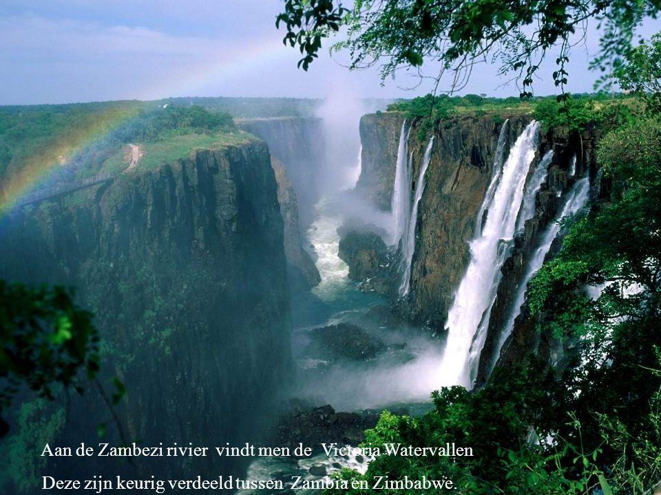 Aan de Zambezi rivier vindt men de Victoria Watervallen Deze zijn keurig verdeeld tussen Zambia en Zimbabwe.