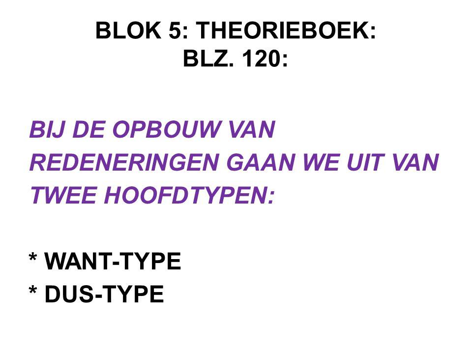 BLOK 5: THEORIEBOEK: BLZ. 120: BIJ DE OPBOUW VAN REDENERINGEN GAAN WE UIT VAN TWEE HOOFDTYPEN: * WANT-TYPE * DUS-TYPE