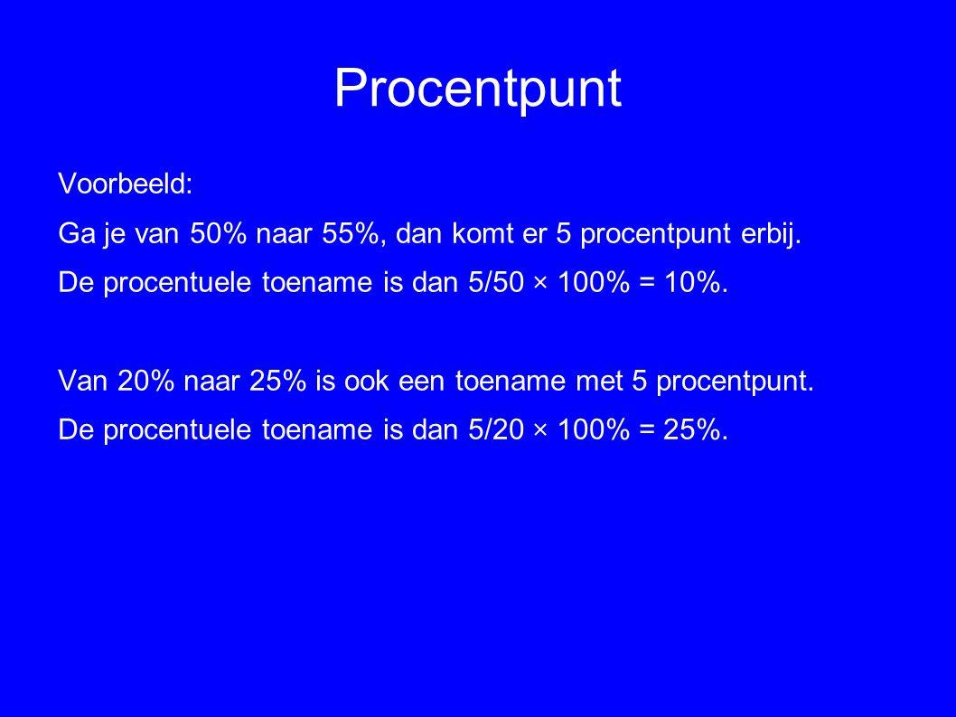 Procentpunt Voorbeeld: Ga je van 50% naar 55%, dan komt er 5 procentpunt erbij. De procentuele toename is dan 5/50 × 100% = 10%. Van 20% naar 25% is o