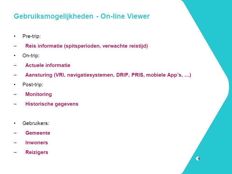 Gebruiksmogelijkheden - On-line Viewer Pre-trip: –Reis informatie (spitsperioden, verwachte reistijd) On-trip: –Actuele informatie –Aansturing (VRI, n