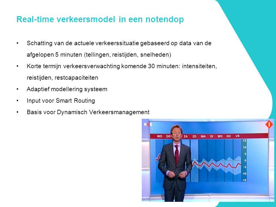 Real-time verkeersmodel in een notendop Schatting van de actuele verkeerssituatie gebaseerd op data van de afgelopen 5 minuten (tellingen, reistijden,