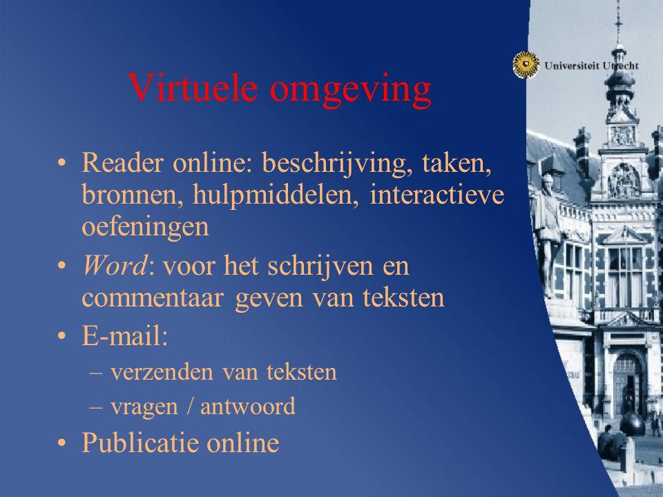 Virtuele omgeving Reader online: beschrijving, taken, bronnen, hulpmiddelen, interactieve oefeningen Word: voor het schrijven en commentaar geven van