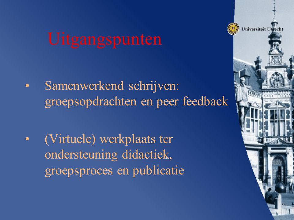 Uitgangspunten Samenwerkend schrijven: groepsopdrachten en peer feedback (Virtuele) werkplaats ter ondersteuning didactiek, groepsproces en publicatie