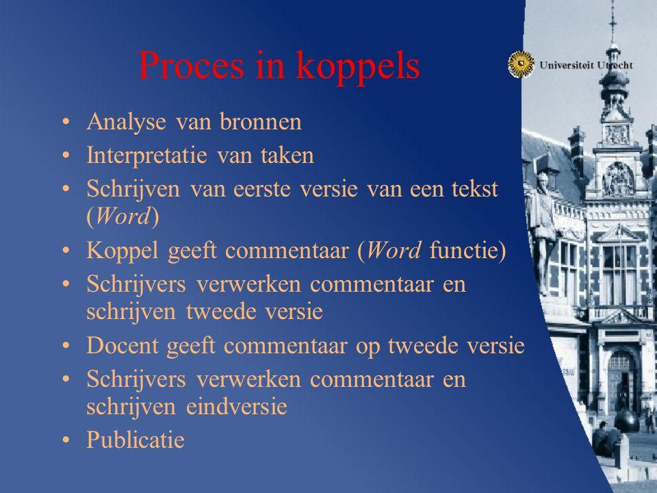 Proces in koppels Analyse van bronnen Interpretatie van taken Schrijven van eerste versie van een tekst (Word) Koppel geeft commentaar (Word functie)