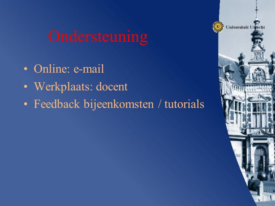 Ondersteuning Online: e-mail Werkplaats: docent Feedback bijeenkomsten / tutorials