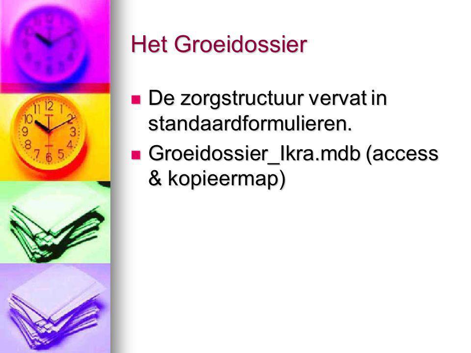 Het Groeidossier De zorgstructuur vervat in standaardformulieren.