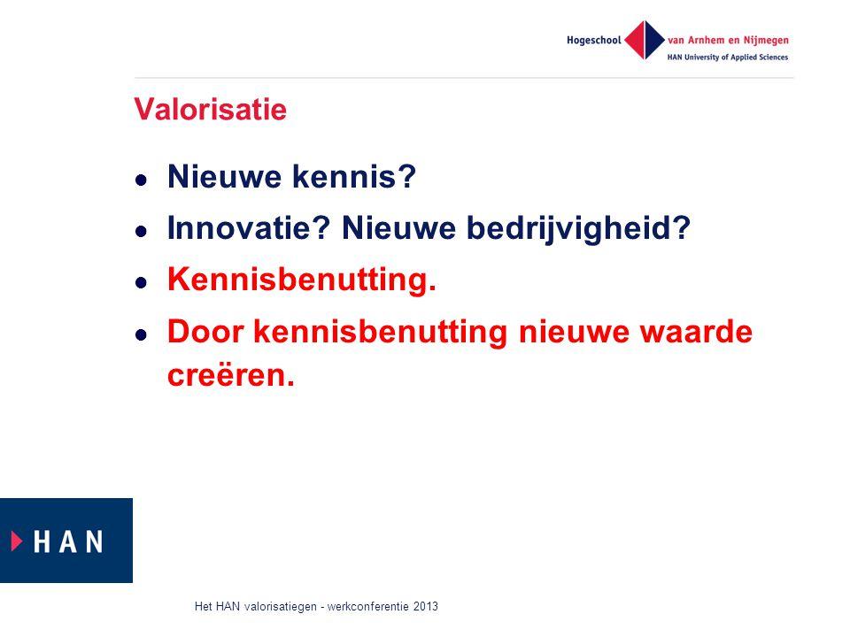 Valorisatie Nieuwe kennis? Innovatie? Nieuwe bedrijvigheid? Kennisbenutting. Door kennisbenutting nieuwe waarde creëren. Het HAN valorisatiegen - werk
