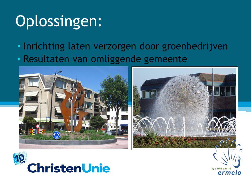 Oplossingen: Inrichting laten verzorgen door groenbedrijven Resultaten van omliggende gemeente