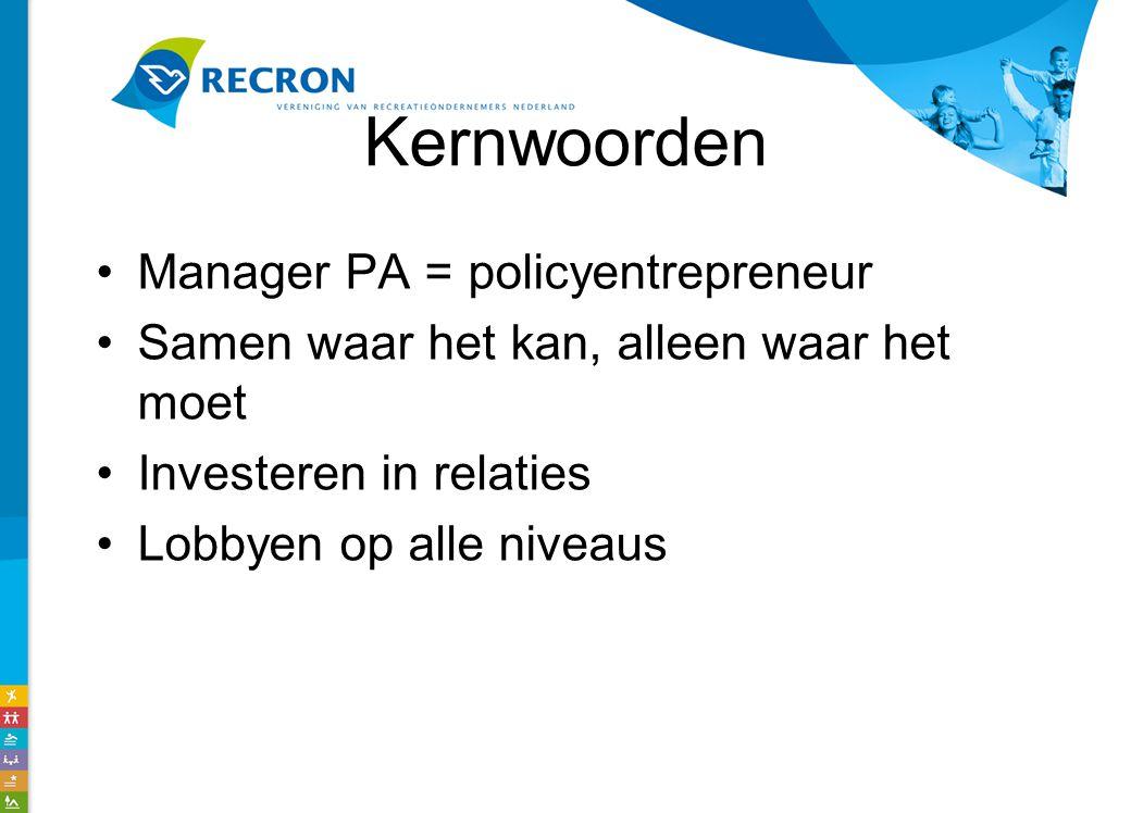Kernwoorden Manager PA = policyentrepreneur Samen waar het kan, alleen waar het moet Investeren in relaties Lobbyen op alle niveaus