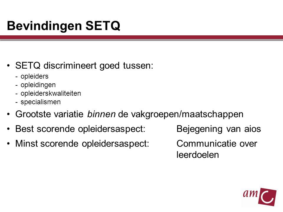 Bevindingen SETQ SETQ discrimineert goed tussen: -opleiders -opleidingen -opleiderskwaliteiten -specialismen Grootste variatie binnen de vakgroepen/ma