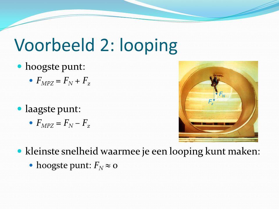 Voorbeeld 2: looping hoogste punt: F MPZ = F N + F z laagste punt: F MPZ = F N – F z kleinste snelheid waarmee je een looping kunt maken: hoogste punt