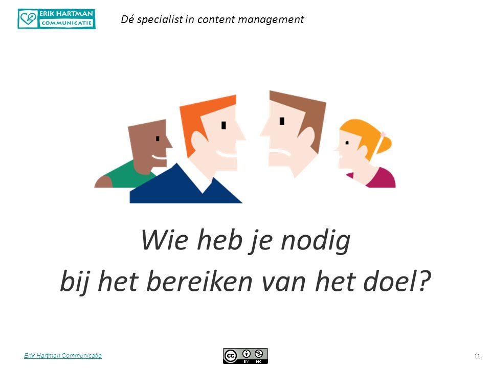 Erik Hartman Communicatie Dé specialist in content management 11 Wie heb je nodig bij het bereiken van het doel?