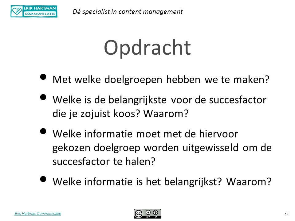Erik Hartman Communicatie Dé specialist in content management 14 Opdracht Met welke doelgroepen hebben we te maken? Welke is de belangrijkste voor de