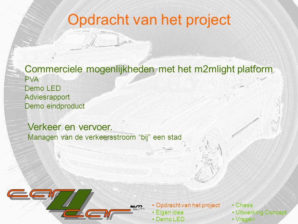 Opdracht van het project Eigen idee Demo LED Chess Uitwerking Concept Vragen Commerciele mogenlijkheden met het m2mlight platform PVA Demo LED Adviesrapport Demo eindproduct Verkeer en vervoer.