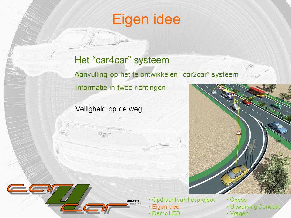 Eigen idee Opdracht van het project Eigen idee Demo LED Chess Uitwerking Concept Vragen Het car4car systeem Aanvulling op het te ontwikkelen car2car systeem Veiligheid op de weg Informatie in twee richtingen