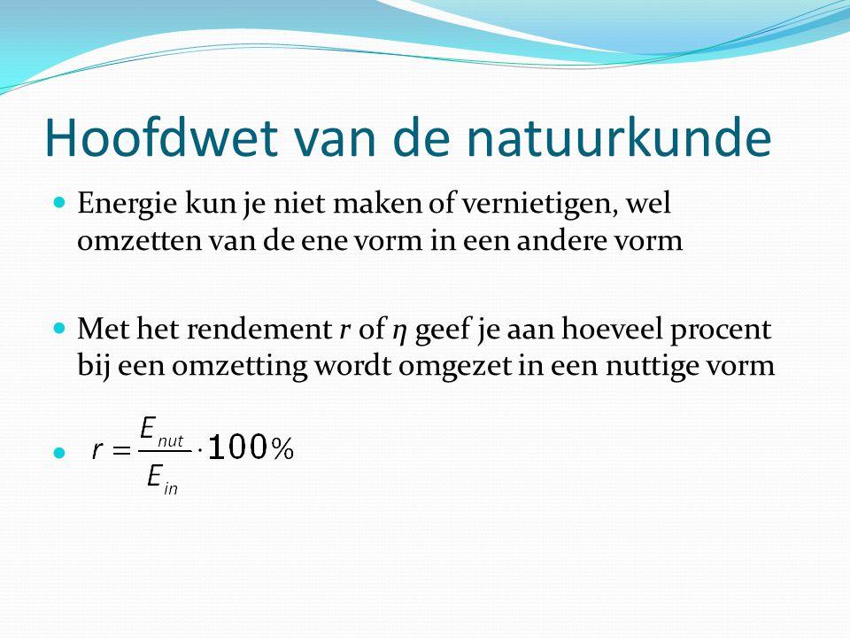 Energie en vermogen Vermogen P is de energie per seconde Eenheid Watt = Joule / seconde