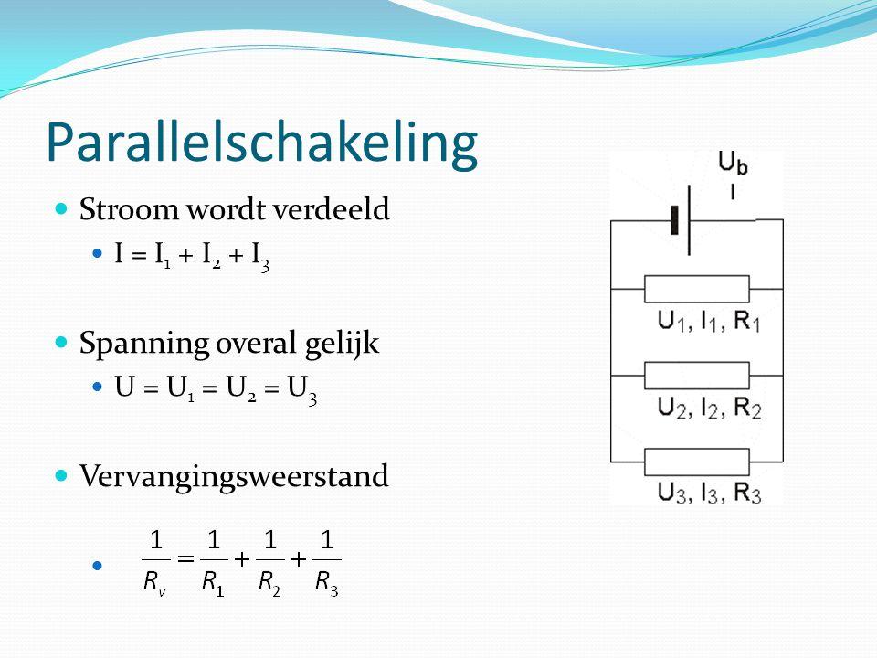 Parallelschakeling Stroom wordt verdeeld I = I 1 + I 2 + I 3 Spanning overal gelijk U = U 1 = U 2 = U 3 Vervangingsweerstand