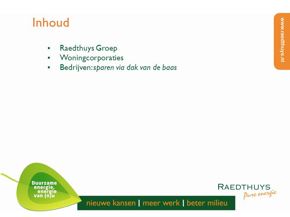 3 Inhoud Raedthuys Groep Woningcorporaties Bedrijven: sparen via dak van de baas