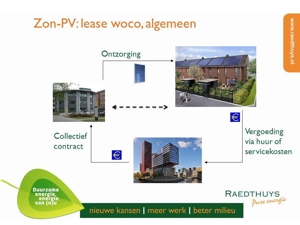 Zon-PV: lease woco, algemeen Ontzorging Collectief contract Vergoeding via huur of servicekosten