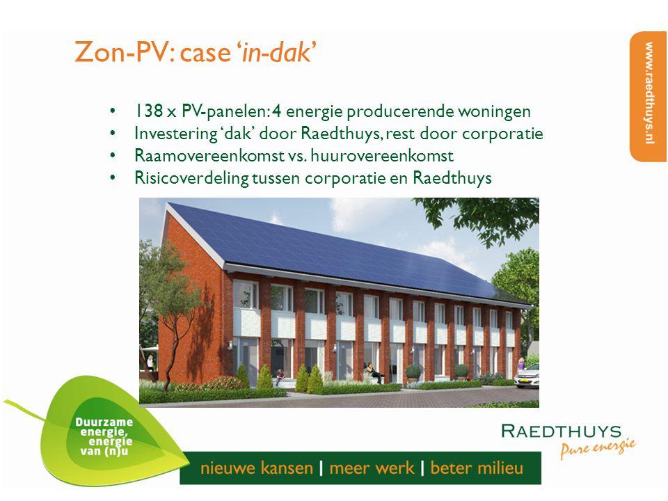 Zon-PV: case 'in-dak' 138 x PV-panelen: 4 energie producerende woningen Investering 'dak' door Raedthuys, rest door corporatie Raamovereenkomst vs. hu