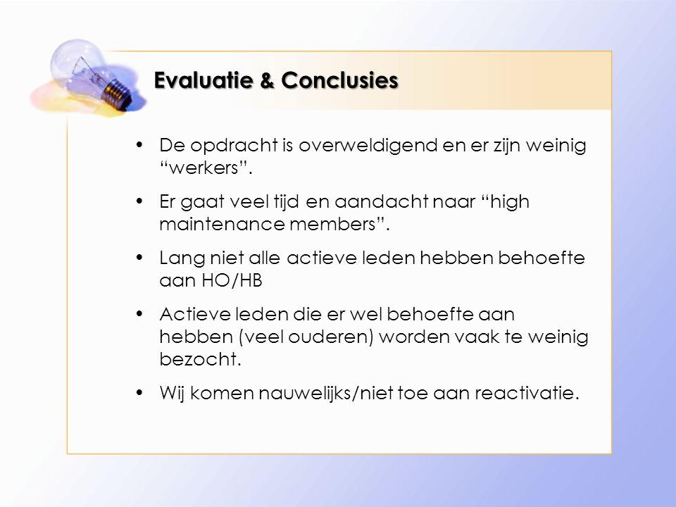 Evaluatie & Conclusies De opdracht is overweldigend en er zijn weinig werkers .