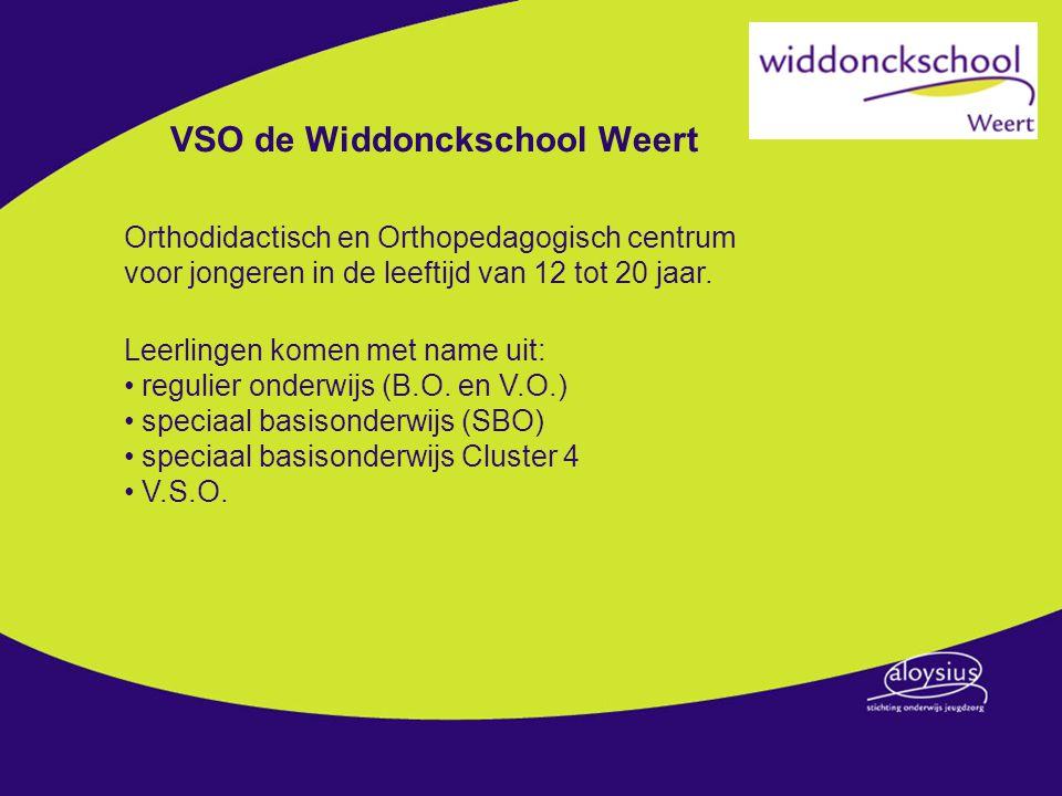 VSO de Widdonckschool Weert Maakt deel uit van Aloysiusstichting Onderwijs Jeugdzorg ( ASOJ ), Sector Zuid, samen met: SO Widdonckschool (Heibloem) SO Latasteschool (Horn) SO spoorzoeker (Roermond) VSO de Ortolaan Roermond / Heythuysen Bovenstaande scholen maken deel uit van een ander samenwerkingsverband