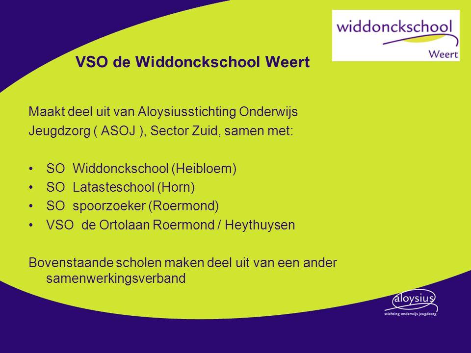 VSO de Widdonckschool Weert Maakt deel uit van Aloysiusstichting Onderwijs Jeugdzorg ( ASOJ ), Sector Zuid, samen met: SO Widdonckschool (Heibloem) SO