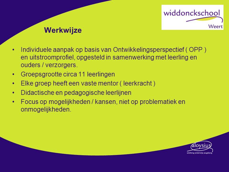 Werkwijze Individuele aanpak op basis van Ontwikkelingsperspectief ( OPP ) en uitstroomprofiel, opgesteld in samenwerking met leerling en ouders / ver