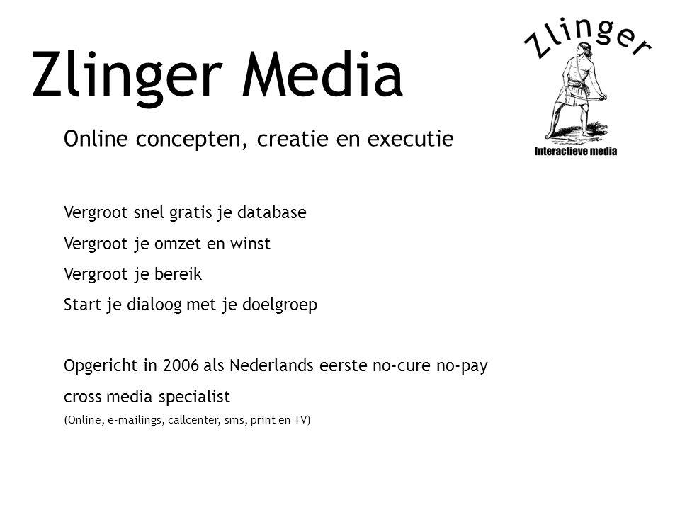Zlinger Media Online concepten, creatie en executie Vergroot snel gratis je database Vergroot je omzet en winst Vergroot je bereik Start je dialoog me