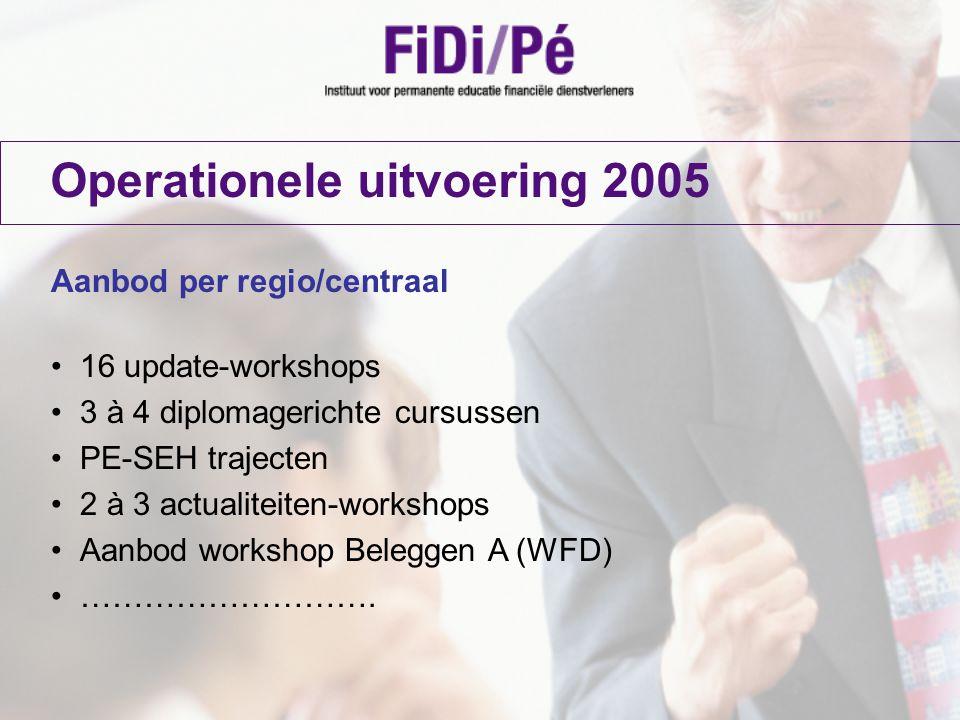 Operationele uitvoering 2005 Aanbod per regio/centraal 16 update-workshops 3 à 4 diplomagerichte cursussen PE-SEH trajecten 2 à 3 actualiteiten-worksh