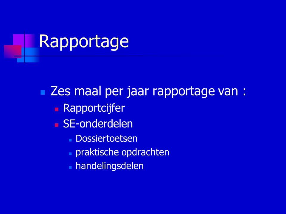 Rapportage Zes maal per jaar rapportage van : Rapportcijfer SE-onderdelen Dossiertoetsen praktische opdrachten handelingsdelen