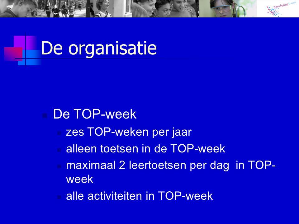 De organisatie De TOP-week zes TOP-weken per jaar alleen toetsen in de TOP-week maximaal 2 leertoetsen per dag in TOP- week alle activiteiten in TOP-w