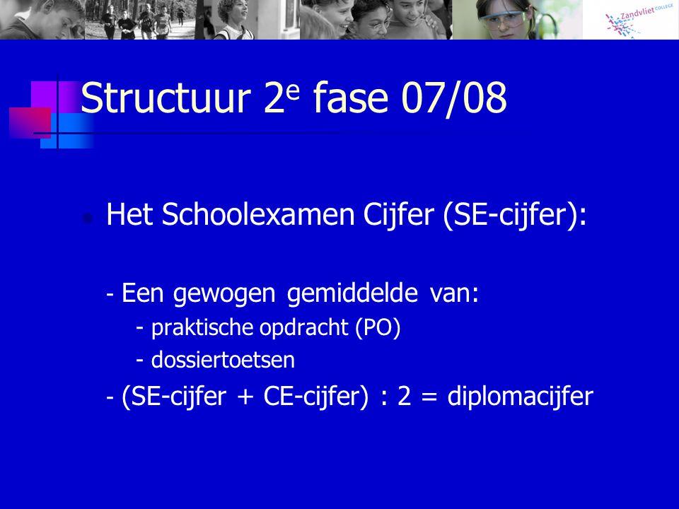Structuur 2 e fase 07/08 Het Schoolexamen Cijfer (SE-cijfer): - Een gewogen gemiddelde van: - praktische opdracht (PO) - dossiertoetsen - (SE-cijfer + CE-cijfer) : 2 = diplomacijfer
